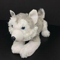 "Peek A Boo Toys Timber Wolf Plush Husky Dog Gray & White Blue Eyes 14"" Stuffed"
