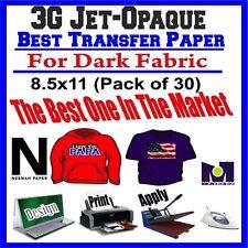 HEAT TRANSFER PAPER 3G JET-OPAQUE IRON ON DARK FABRIC INKJET PAPER 30 PK 8.5*11