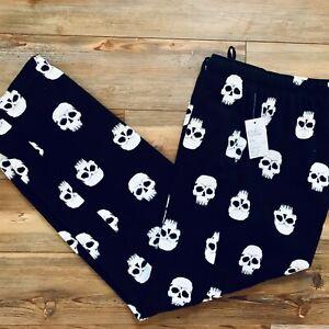 Croft & Barrow Skull Sleep Lounge Pajama PJ Pants NWT Mens LARGE Black Halloween