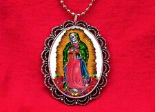 SKULL OUR LADY OF GUADALUPE DAY OF THE DEAD SANTA MUERTE MEDAL PENDANT NECKLACE