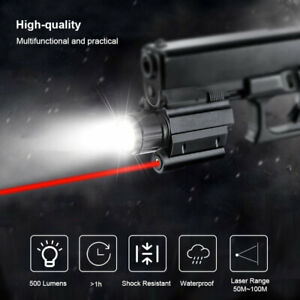 LED Flashlight Combo Red Laser Sight Pistol Light Torch Set Gun Rifle Rail Mount