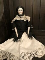 """17"""" Very Rare Fancy Hairstyle Conta Boehme? 1870 Antique German China Doll"""