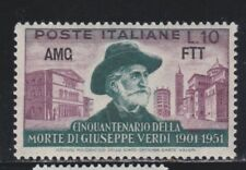 MC 1951 AMG FTT  Verdi 10 lire   MNH** Filigrana lettere 10/10 destra