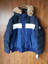 RRP £250 TOMMY HILFIGER MENS PARKA COAT Blue White Short Puffer Jacket XXL 2XL