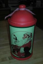 Norman Rockwell Cookie Jar Christmas Red Back Ground Santa Checking His List