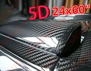 "🔥 24""x60"" 5D Shiny Glossy Carbon Fiber Car Vinyl Film Wrap Sticker Decal WR DIY"
