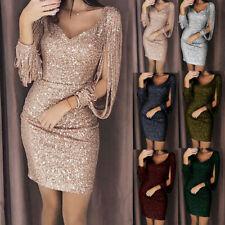 Women V neck Bodycon Dresses Slim Glitter Tassel Elegant Lady Party Dress AN8