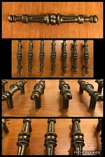 7 Handles Pulls Antique Brass Tone Colonial Gothic Cabinet Drawer Heavy Vintage