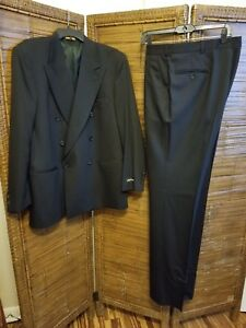 Pierre Cardin Double Brsted Dk Charcoal/BLK PinStripe Wool Suit Sz 40R NWT Vntg