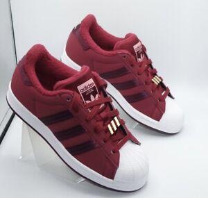 Womens Adidas Superstar Serrated 3 Stripes FZ4630 Size 5.5 Burgundy/Gold