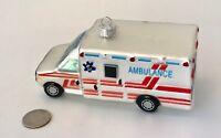 "Christmas Ornament AMBULANCE Hand-Painted GLASS, Medical Paramedics 5.5"""