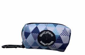 waste poop bag carrier holder zipper bright blue grey white