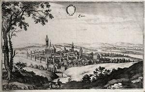 Laun (dt. Name Louny) Tschechien, Böhmen, Kupferstich um 1655 von M. Merian
