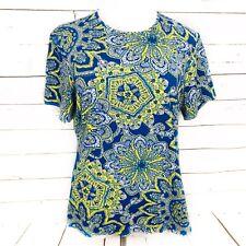 Lands End XL Women's Top Blue Yellow Pattern Blouse Crew Neck Short Sleeve