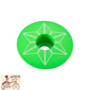 "SUPACAZ STAR CAPZ 1-1/8"" POWDER COATED NEON GREEN BICYCLE HEADSET TOP CAP"
