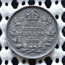1903 Canada Silver Five Cent ♚ King Edward VII ♚ Nice Old Coin