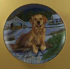 Golden Retrievers Let'S Go Sledding! Plate Dog Patricia Bourque Danbury Mint