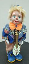 Porcelain Antique Vintage Clockwork Clown Toy. Musical & Movement When Wound Up.
