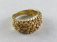 Sterling Silver Ring Amber Stones with Gold Vermeil Size 6 ½ [2062]