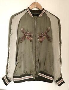 Zara Trafaluc Embroidered Bird Green/Cream 'Dreamers' Bomber Jacket Size Medium