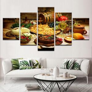 Restaurant Kitchen Food Fruit Wine 5 Pieces canvas Wall Art Picture Home Decor