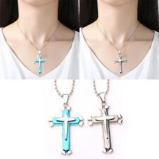 Fashion Blue Rhinestone Cross Necklace Stainless steel Religious Pendants