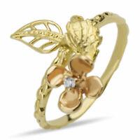 Ring Gold 585 Unikat Gelbgold Rotgold 14K Blume mit Stein Goldblatt Gr 52 16,5mm