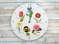 Flowers white wall clock 30cm LP22566