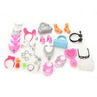 Puppen Zubehör für -Puppen Outfit Kleid Halskette Ohrringe  sf