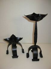 New ListingGothic Primitive Rustic Wrought Iron Candle Holders Mid Century