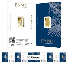 Lot of 10 - 2.5 gram Gold Bar PAMP Suisse Lady Fortuna Veriscan (In Assay)