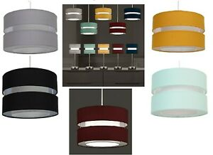 EASY FIT 30cm 2 TIER LAYER FABRIC CEILING PENDANT LIGHT SHADE