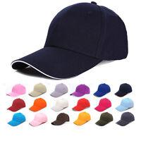 ADULT SIZE BASEBALL CAP 100% COTTON HAT - ADJUSTABLE - 14 COLOURS - BRAND NEW