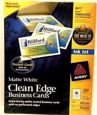 Avery 8871 Clean Edge Business Cards No Perforations Inkjet White 200 Cards