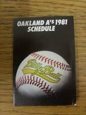 1981 Fixture Card: Baseball - Oakland A's (fold out style). Any faults with this
