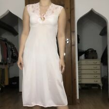 Vintage Pink Gathered Tie Up Lace Nightie / Nightdress / Nightgown - Size 10/12