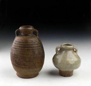 *SC* PAIR OF THAI / SAWANKHALOK GLAZED POTTERY BOTTLE VASES, 13TH-15TH CENT