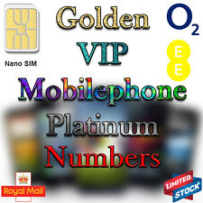 Golden VIP Lucky Platinum Numbers Elegant Mobile Phone Micro Nano Sim Card O2 EE