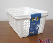 A Set Of Two White Organizer Basket 30 x 45 x 18cm Kitchenware FBA29062