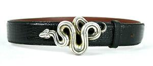 KIESELSTEIN-CORD Black Lizard Skin Sterling Silver Snake Buckle Belt 1 S