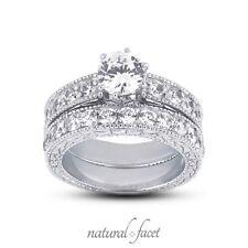 2.04ct H/VS1/Ideal Round Natural Diamonds Gold Engraved Vintage Bridal Set 7.5mm