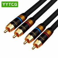 G1-2RCA Pair High Quality 6N 99.9999% OFC Male-Male RCA Interconnect Cable GoldP