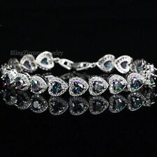 925 Silver Mystic Dark Topaz Heart Shaped Tennis Bracelet With Austrian Crystals