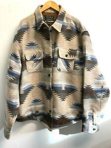NEW Jachs Men's 3XL Aztec Shirt Jacket Wool Blend Pockets Fully Lined Tan