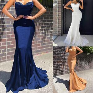 Damen Elegante Maxi Party Ärmelloses Sling Reizvolle Lange Meerjungfrau Kleid
