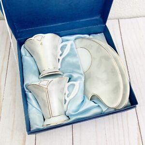 CLASSIC COFFEE by Yedi Silver Feather Gold Trim Design w/ Box