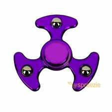 Purple Fidget Hand Spinner Toy Anxiety Stress Relief Focus EDC UFO ADHD Metallic