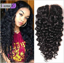 4X4 Lace Closure Brazilian Wet and Wavy Middle Part Closure Bleached Knots