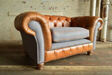VINTAGE RUSTIC TAN LEATHER & GREY WOOL CHESTERFIELD SNUGGLE CHAIR, LOVE SEAT