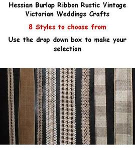 Hessian Burlap Ribbon Rustic Vintage Victorian Weddings Crafts 8 styles